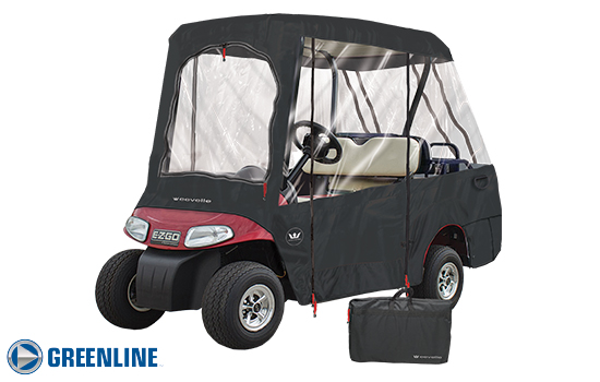 Greenline 4 passenger golf cart enclosure. Black.