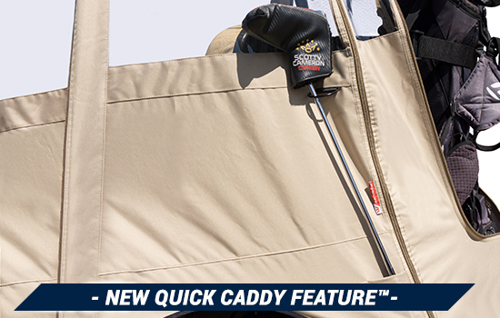 Golf_Cart_Enclosure_Greenline_tan_GLE24_rear_opening Quick Caddie product feature