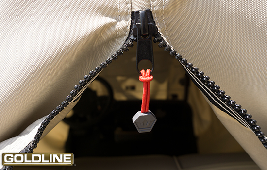 Heavy duty weather proof zipper with zipper pulls for ease of use and durability.