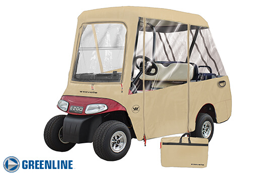 Greenline 4 passenger golf cart enclosure. Tan.