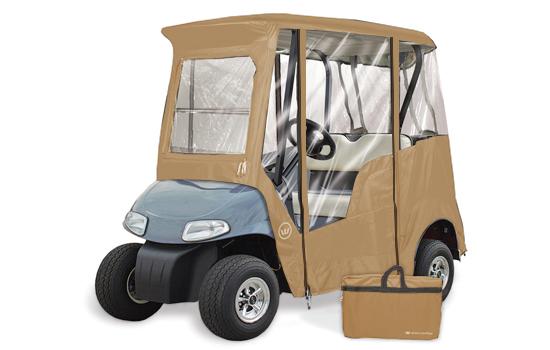 GREENLINE 2 PENGER EZ-GO Custom Golf Cart Enclosure on golf cart side curtains, golf cart rain curtains, golf cart convertible top,